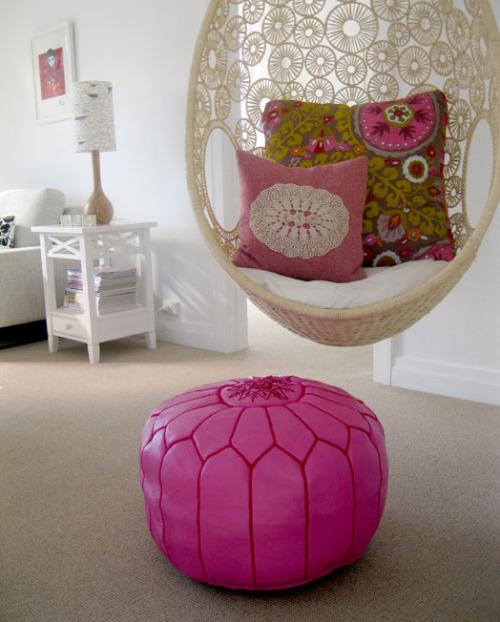 Moroccan Leather Pouffe/Pouf/Ottoman - Pink