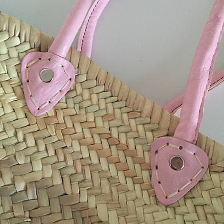 French Shopping Basket With Baby Pink handle