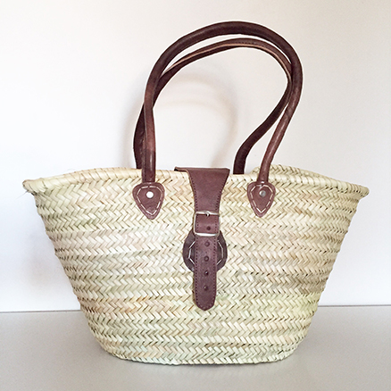 French Shopping Basket With Round Leather Handle Strap and Buckle