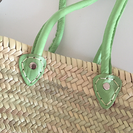 French Shopping Basket With Lime Green Leather handle