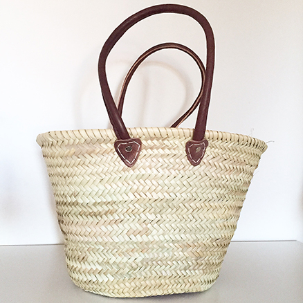 French Shopping Basket With Round Brown Leather handle