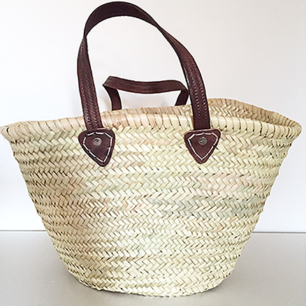 French Shopping Basket With Single Leather handle