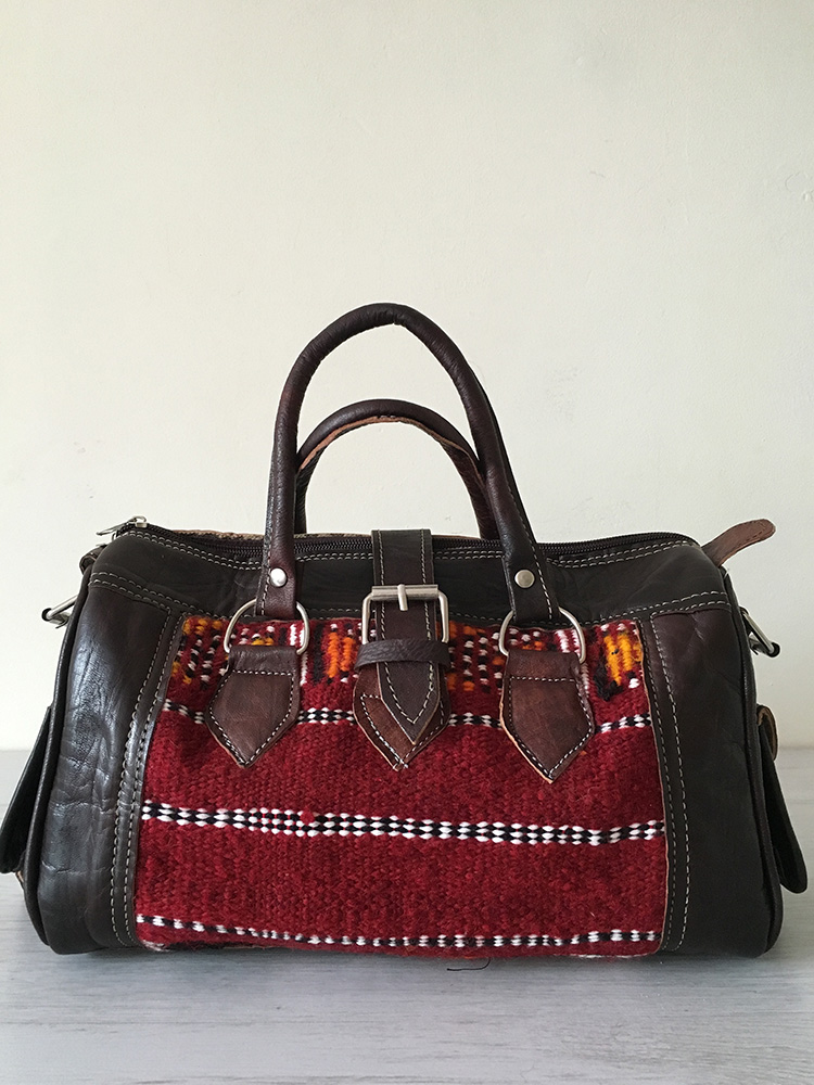 Leather Kilim Bag Chocolate Brown East Unique