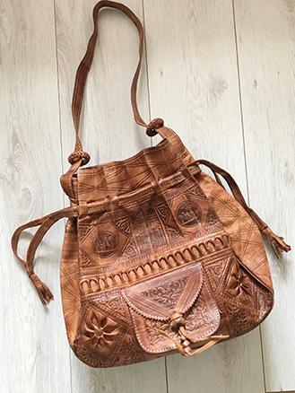 Embossed Leather Drawstring Shoulder Bag Tan