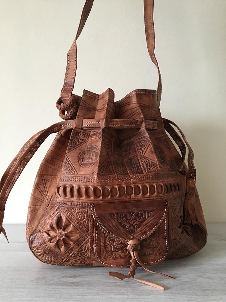 d352caa619 Embossed Leather DrawString Shoulder bag - Tan - East Unique
