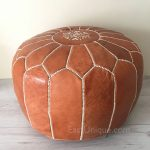 Moroccan Leather Pouffe - tan