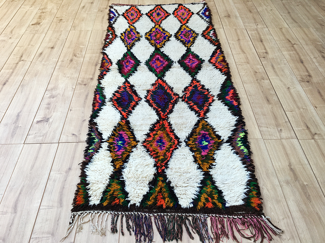East Unique Vintage Moroccan Rug Tapis Berbere Azilal