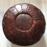 Moroccan Leather Pouffe - Burnt Umber