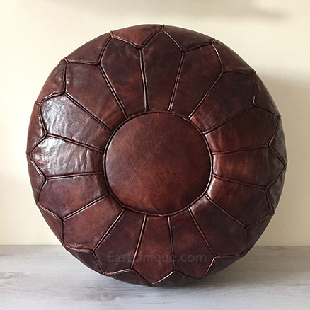 Moroccan Leather Pouffe - Mahogony