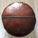 Moroccan Leather Pouffe - Mahogony