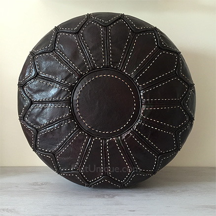 Moroccan Leather Pouffe - Espresso
