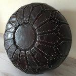 Moroccan Leather Pouffe - Espresso