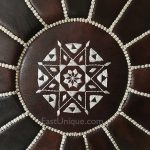 Moroccan Leather Pouffe - Dark Brown