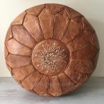 Moroccan Leather Pouffe - Desert Sand