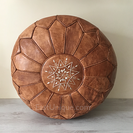 Moroccan Leather Pouffe - Desert Sand