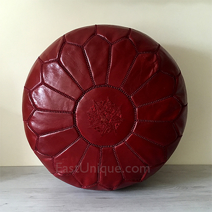 Moroccan Leather Pouffe - Oxblood