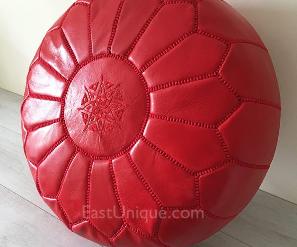 Moroccan Leather Pouffe - Red