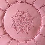Moroccan Leather Pouffe - Baby Pink