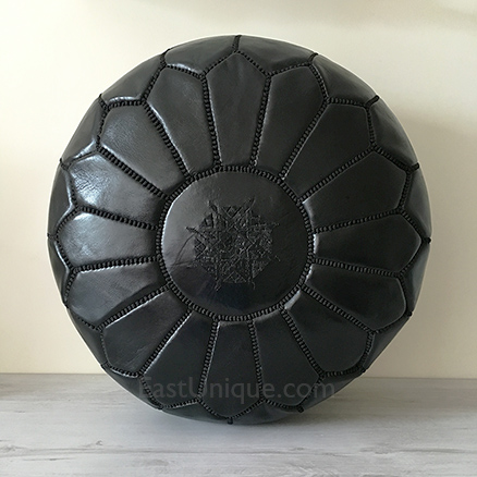 Moroccan Leather Pouffe - Black