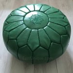 Moroccan Leather Pouffe - Green