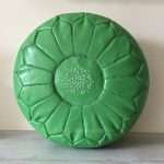 Moroccan Leather Pouffe - Pistachio
