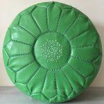 Moroccan Leather Pouffe - Pistachio