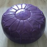 Moroccan Leather Pouffe - Purple