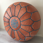 Moroccan Leather Pouffe - Tan With Turquoise
