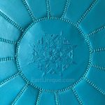 Moroccan Leather Pouffe - Turquoise