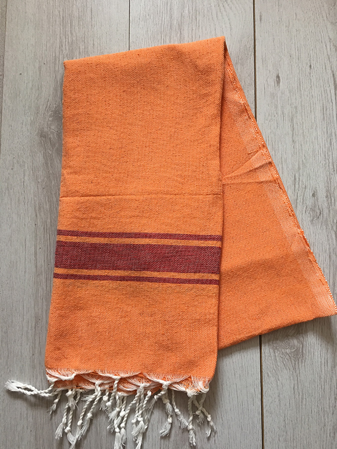 East Unique Moroccan Hammam Towel Orange Red