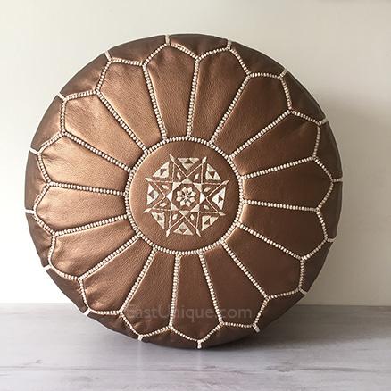 Moroccan Leather Pouffe - Bronze