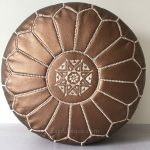 Moroccan Leather Pouffe - Bronze