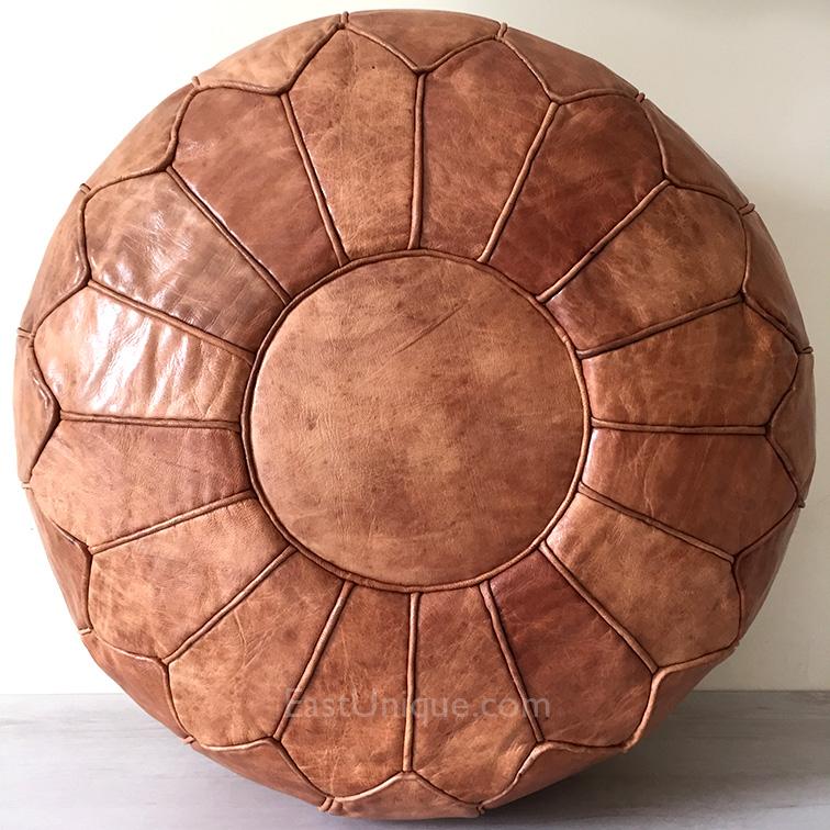 Shop Linon Moroccan Mekenes Camel Brown Rug: Moroccan Leather Pouffe – Camel Brown – Large