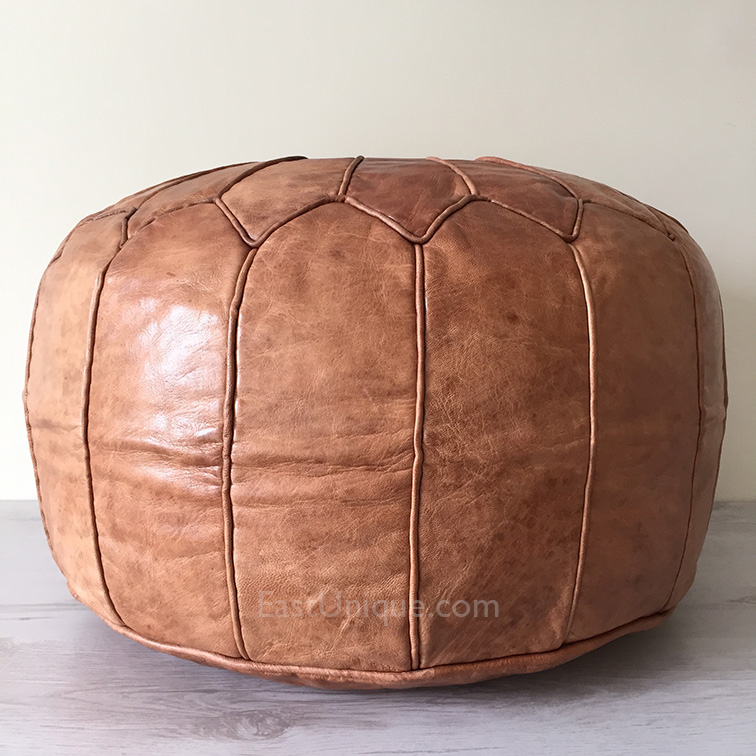 Shop Linon Moroccan Mekenes Camel Brown Rug: Moroccan Leather Pouffe