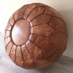 Moroccan Leather Pouffe - Camel Brown