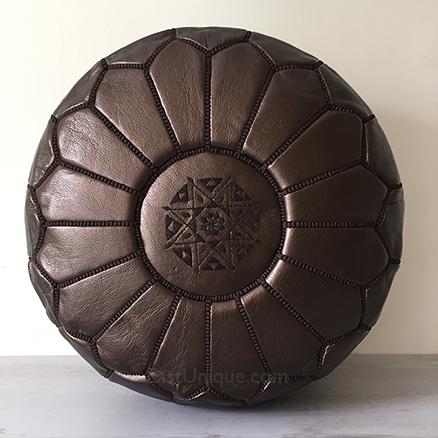 Moroccan Leather Pouffe - Copper