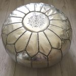 Moroccan Leather Pouffe - Silver