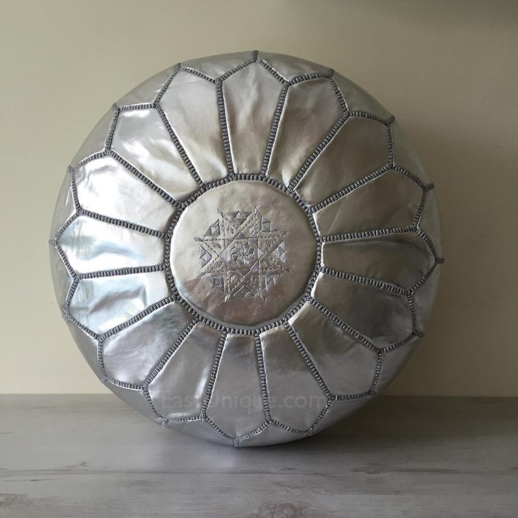 Moroccan Leather Pouffe Silver East Unique