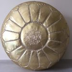 Moroccan Leather Pouffe - Gold