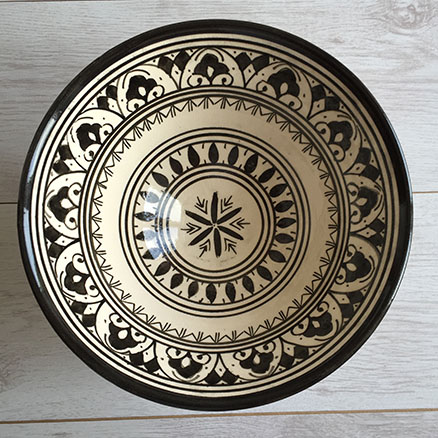 moroccan salad bowl & East Unique | Moroccan Salad Bowl u2013 Cream-Black