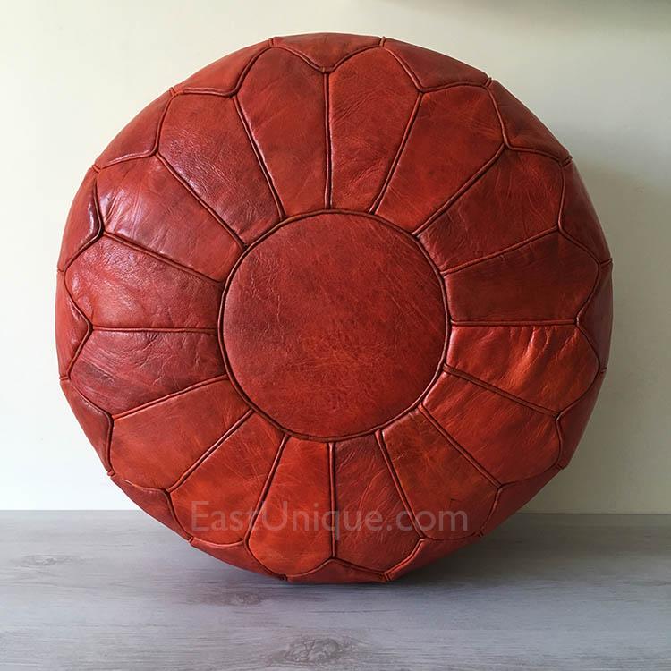 Moroccan Leather Pouffe Pouf Burnt Orange Large East