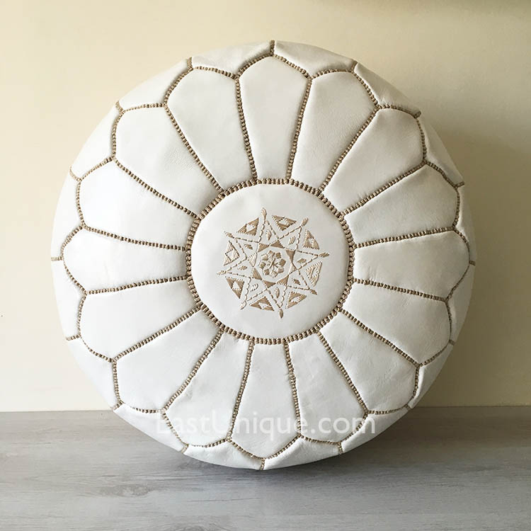 East Unique Moroccan Leather Pouffe White With Beige Gorgeous White And Gold Pouf